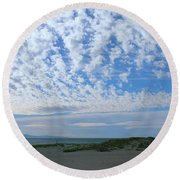 Ventura Beach With Blue Sky And  Puffy Clouds Round Beach Towel