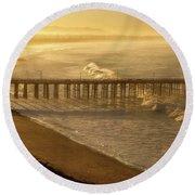 Ventura, Ca Pier At Sunrise Round Beach Towel