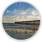 Ventura Pier At Sunset Round Beach Towel