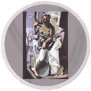 Venus And Sailor Round Beach Towel