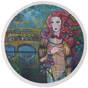 Venus And The Ponte Vecchio  Round Beach Towel