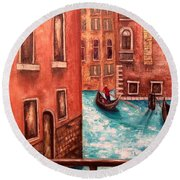 Round Beach Towel featuring the painting Venice by Annamarie Sidella-Felts