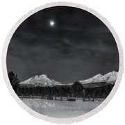 Round Beach Towel featuring the photograph Venus Over Three Sisters by Cat Connor