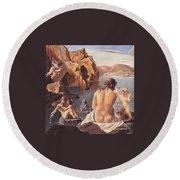 Venus With Cupid Round Beach Towel