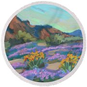Round Beach Towel featuring the painting Verbena And Spring by Diane McClary