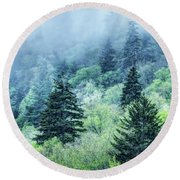Verdant Forest In The Great Smoky Mountains Round Beach Towel