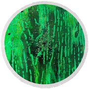 Verde Abstract Round Beach Towel by Carolyn Repka