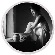 Vermeer Footwasher Round Beach Towel
