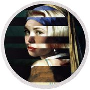 Vermeer's Girl With A Pearl Earring And Grace Kelly Round Beach Towel by Luigi Tarini