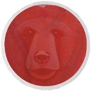 Vermillion Bear Round Beach Towel