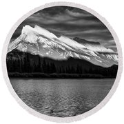 Vermillion Lakes And Mt Rundle Bw Round Beach Towel