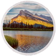 Vermillion Lakes And Mt Rundle II Round Beach Towel