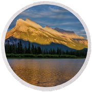 Vermillion Lakes And Mt Rundle Round Beach Towel