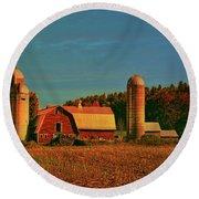 Round Beach Towel featuring the photograph Vermont Autumn Barn by Deborah Benoit