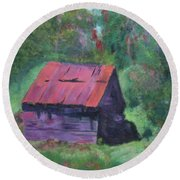 Round Beach Towel featuring the painting Vermont Barn by Donna Walsh