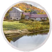 Vermont Barn Round Beach Towel