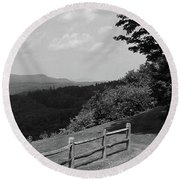 Round Beach Towel featuring the photograph Vermont Countryside 2006 Bw by Frank Romeo