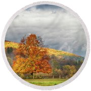 Round Beach Towel featuring the photograph Vermont Fall Colors After The Rain by Jeff Folger