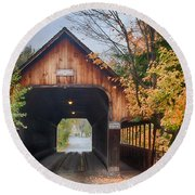Vermont Fall Colors Over The Middle Bridge Round Beach Towel