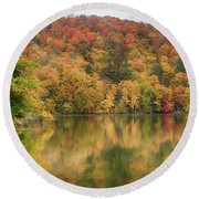 Vermont Fall Foliage Reflected On Pogue Pond Round Beach Towel