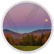 Vermont Fall, Full Moon And Belt Of Venus Round Beach Towel