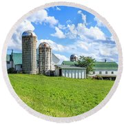 Vermont Farm Round Beach Towel