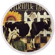 Vermont Farms Cow Round Beach Towel