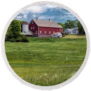 Round Beach Towel featuring the photograph Vermont Green by Rod Best