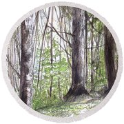 Round Beach Towel featuring the painting Vermont Woods by Laurie Rohner
