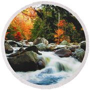 Vermonts Fall Color Rapids Round Beach Towel