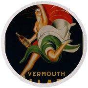 Vermouth Bellardi Torino Vintage Poster Round Beach Towel