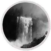 Vernal Fall And Mist Trail Round Beach Towel