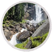 Round Beach Towel featuring the photograph Vernal Falls- by JD Mims