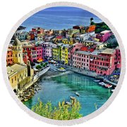 Vernazza Alight Round Beach Towel by Frozen in Time Fine Art Photography