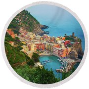 Vernazza From Above Round Beach Towel