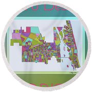 Vero Beach Map2 Round Beach Towel