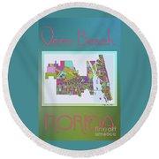 Vero Beach Map2 Round Beach Towel