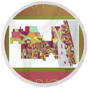 Vero Beach Map3 Round Beach Towel