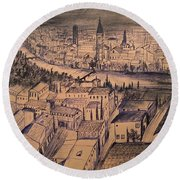 Verona Birdview Drawing Round Beach Towel