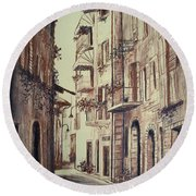 Verona Drawing Of A Narrow Street Round Beach Towel