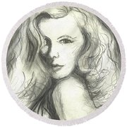 Round Beach Towel featuring the mixed media Veronica Lake by Denise Fulmer