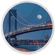 Round Beach Towel featuring the photograph Verrazano Narrows Bridge Moon by Susan Candelario