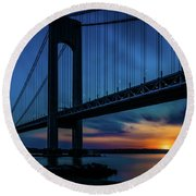 Round Beach Towel featuring the photograph Verrazano Sunset by Chris Lord