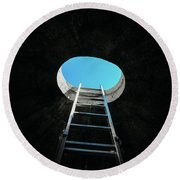 Vertical Step-ladder On Ceiling Window  Round Beach Towel