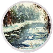 Very Cold Winter Watercolor Round Beach Towel