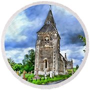 Very Old Church Round Beach Towel by Pennie  McCracken