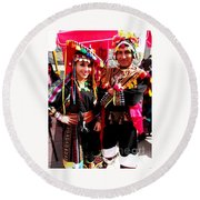 Very Proud Bolivian Dancers Round Beach Towel