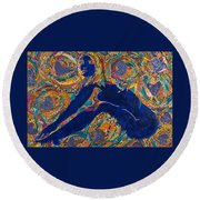 Round Beach Towel featuring the tapestry - textile Vesica  Pisces by Apanaki Temitayo M