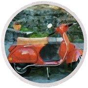 Round Beach Towel featuring the painting Vespa Parked by Jeff Kolker