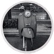 Round Beach Towel featuring the photograph Vespa by Sebastian Musial